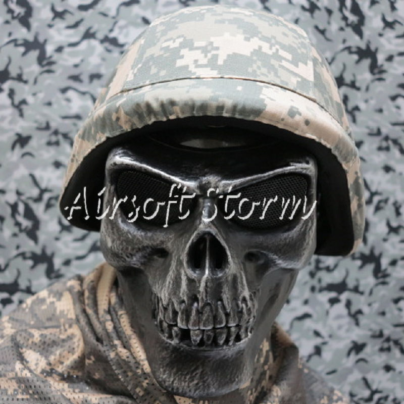 Airsoft SWAT Tactical Gear Seal Skull Skeleton Full Face Protector Mask Silver Black