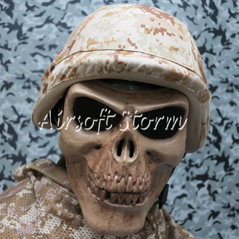 Airsoft SWAT Tactical Gear Seal Skull Skeleton Full Face Protector Mask Coyote Brown