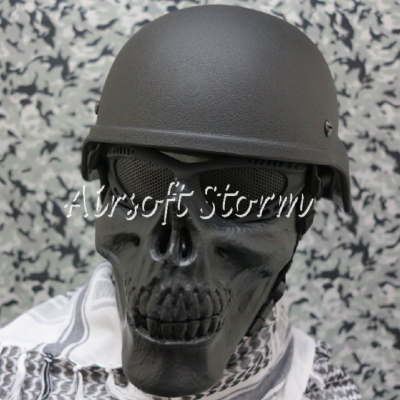 Airsoft SWAT Tactical Gear Seal Skull Skeleton Half Face Protector Mask Black