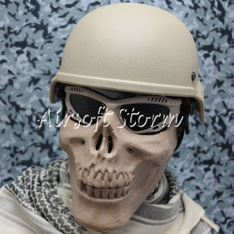 Airsoft SWAT Tactical Gear Seal Skull Skeleton Half Face Protector Mask Desert Tan