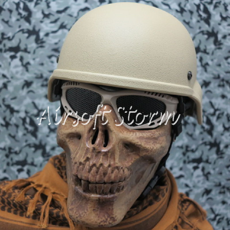 Airsoft SWAT Tactical Gear Seal Skull Skeleton Half Face Protector Mask Coyote Brown