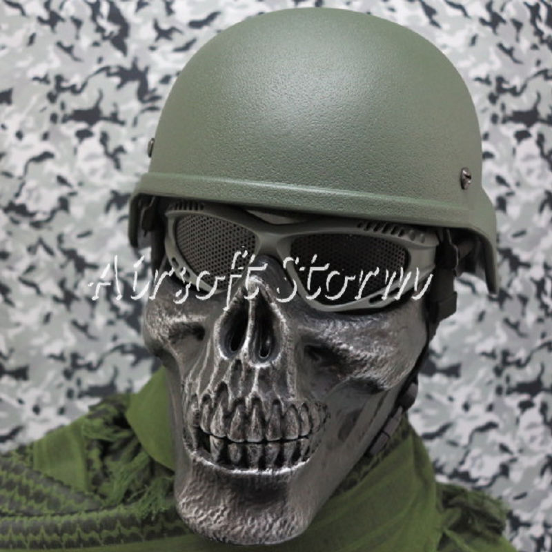 Airsoft SWAT Tactical Gear Seal Skull Skeleton Half Face Protector Mask Silver Black