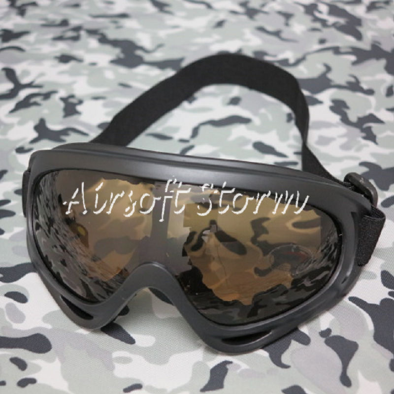 Airsoft SWAT UV X400 Wind Dust Tactical Goggle Glasses Brown