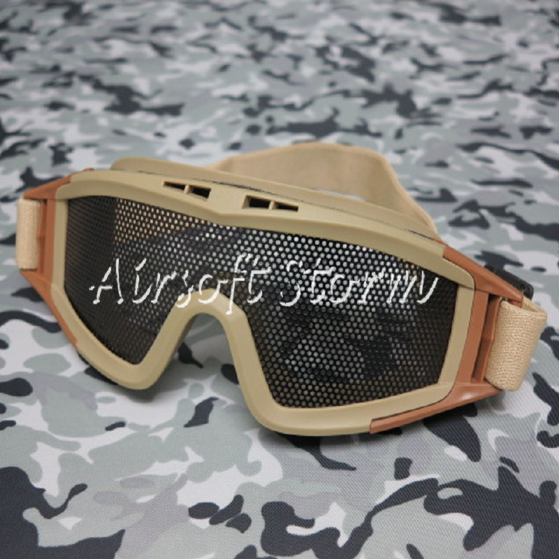 Airsoft Tactical No Fog Metal Mesh DL Style Goggle Desert Tan