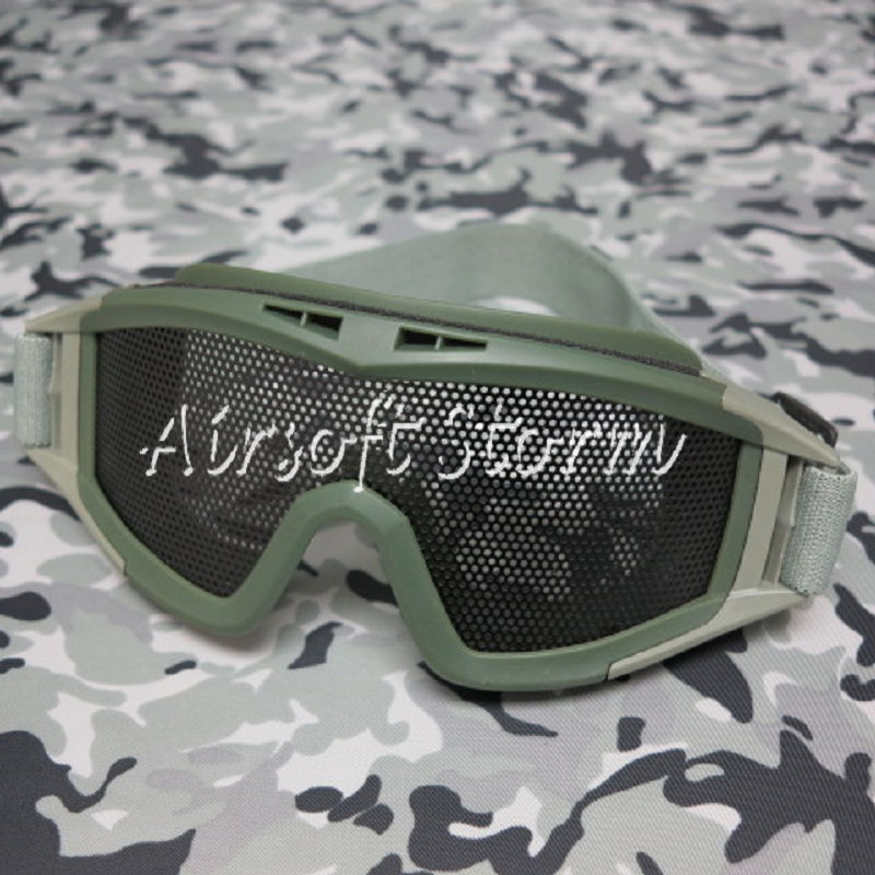 Airsoft Tactical No Fog Metal Mesh DL Style Goggle Olive Drab OD