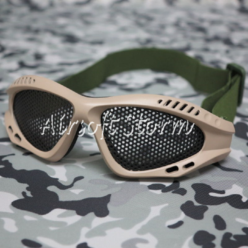 Airsoft Tactical No Fog Metal Mesh Goggle Glasses Desert Tan