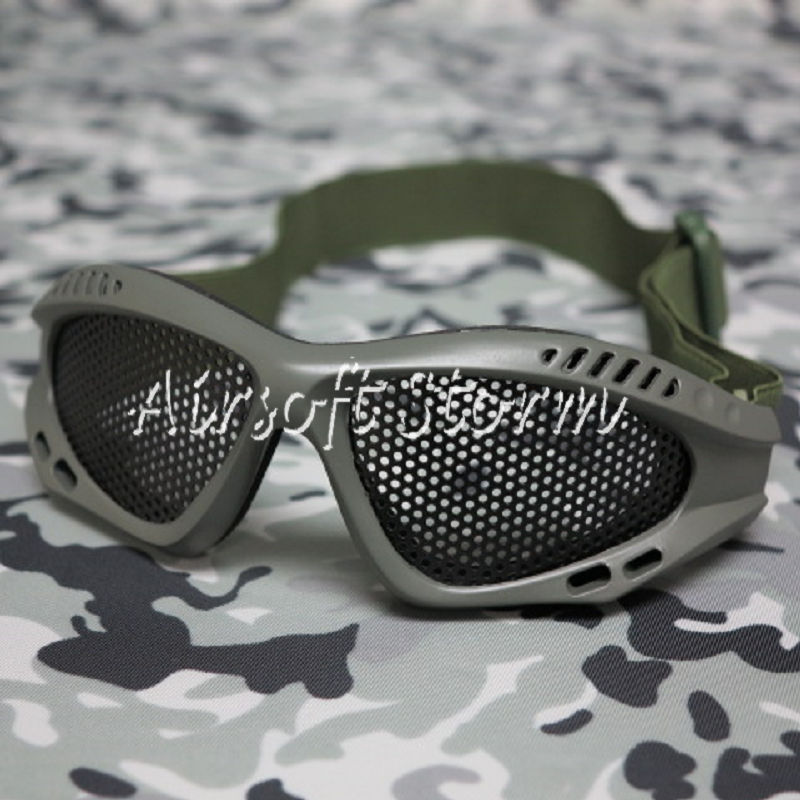 Airsoft Tactical No Fog Metal Mesh Goggle Glasses Olive Drab OD