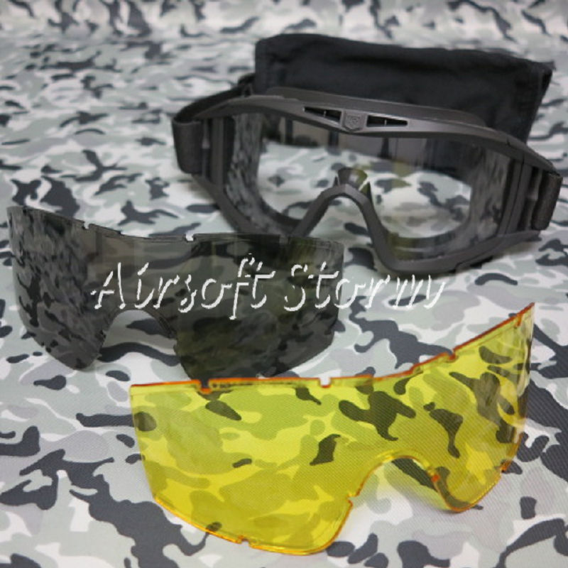 Tactical Desert Goggle Glasses Black with 3 Replaceable Lens