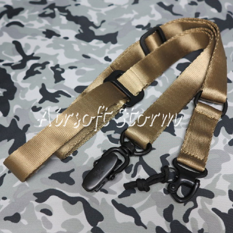 Airsoft SWAT Tactical Gear Single/Two Point MS2 Style Multi Mission Rifle Sling Desert Tan