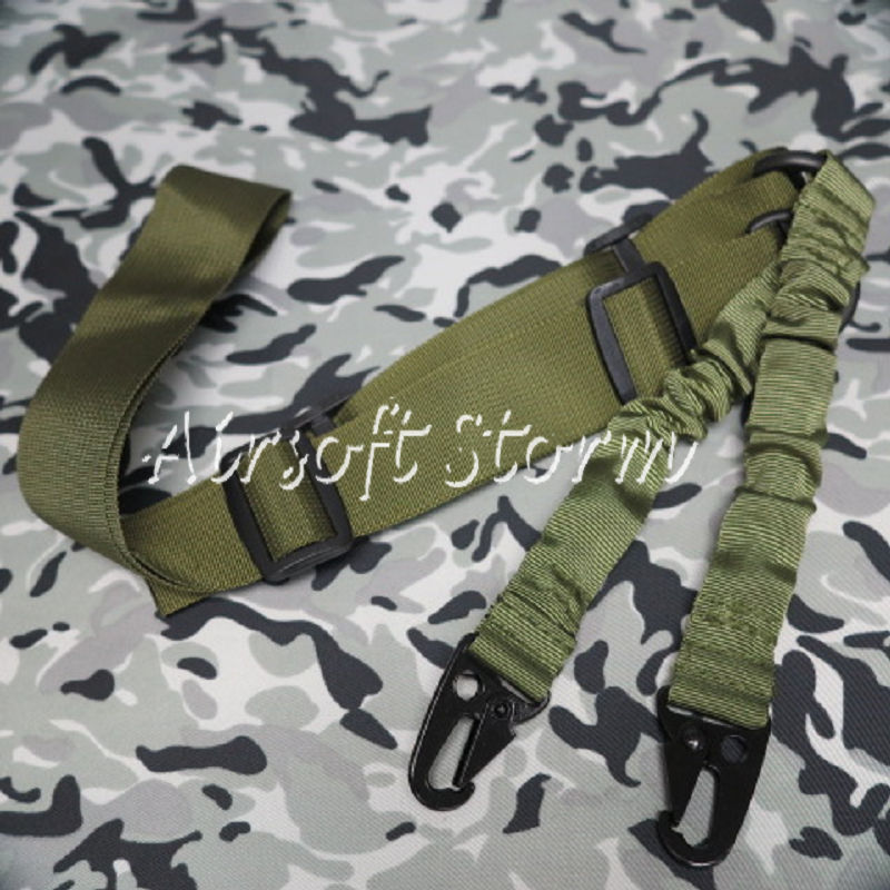 Airsoft SWAT Tactical Gear 2-Point Bungee Tactical Rifle Sling Olive Drab OD