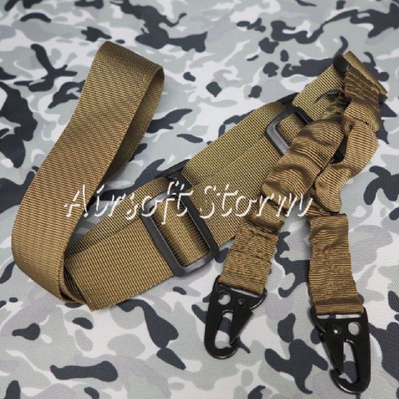 Airsoft SWAT Tactical Gear 2-Point Bungee Tactical Rifle Sling Coyote Brown
