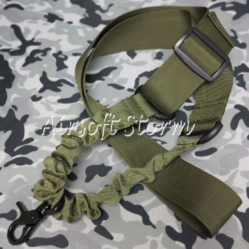 Airsoft SWAT Tactical Gear Elastic Bungee Snap Hook CQB Rifle Sling Olive Drab OD