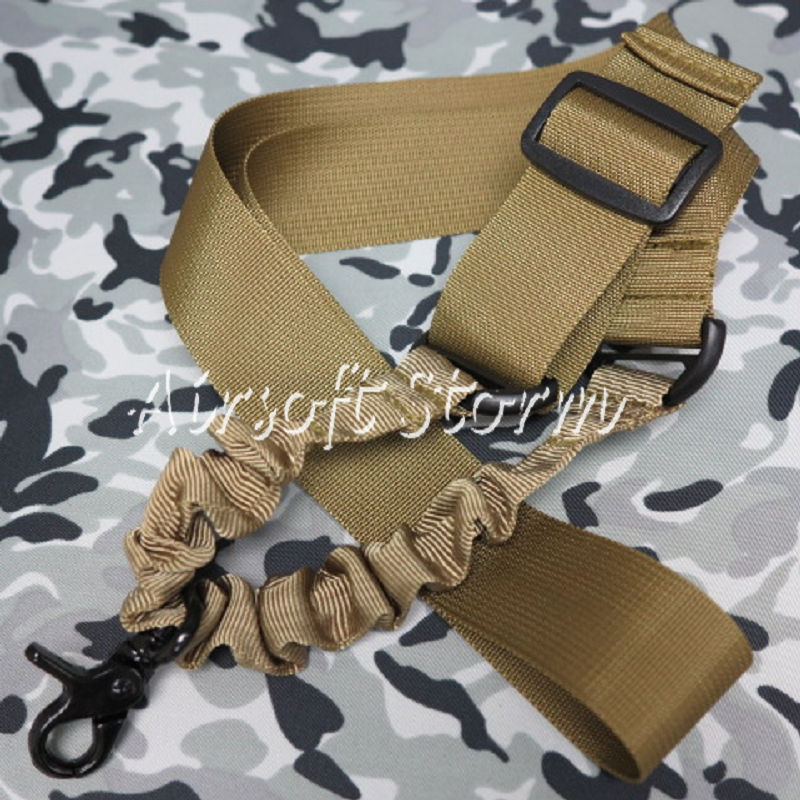 Airsoft SWAT Tactical Gear Elastic Bungee Snap Hook CQB Rifle Sling Coyote Brown