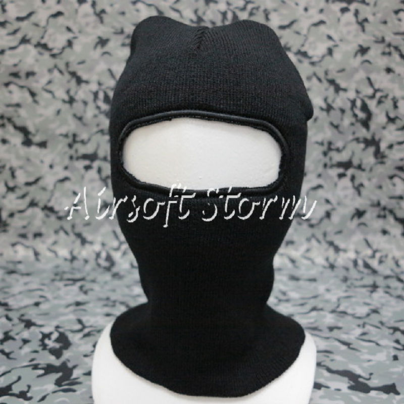 Airsoft SWAT Balaclava Hood 1 Hole Full Head Face Stretchy Mask Protector Black