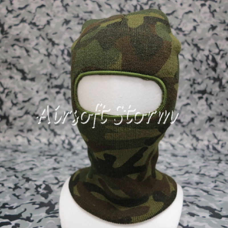 Airsoft SWAT Balaclava Hood 1 Hole Full Head Face Stretchy Mask Protector Woodland Camo