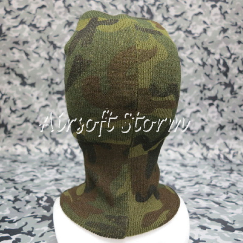 Airsoft SWAT Balaclava Hood 1 Hole Full Head Face Stretchy Mask Protector Woodland Camo - Click Image to Close
