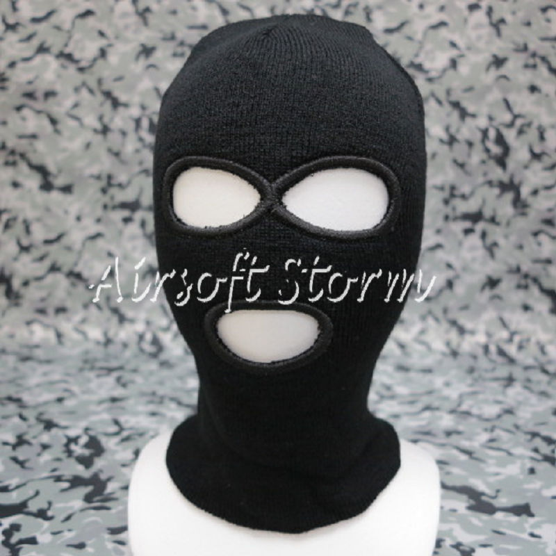 Airsoft SWAT Balaclava Hood 3 Hole Full Head Face Stretchy Mask Protector Black