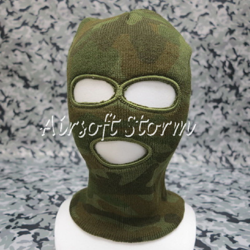 Airsoft SWAT Balaclava Hood 3 Hole Full Head Face Stretchy Mask Protector Woodland Camo