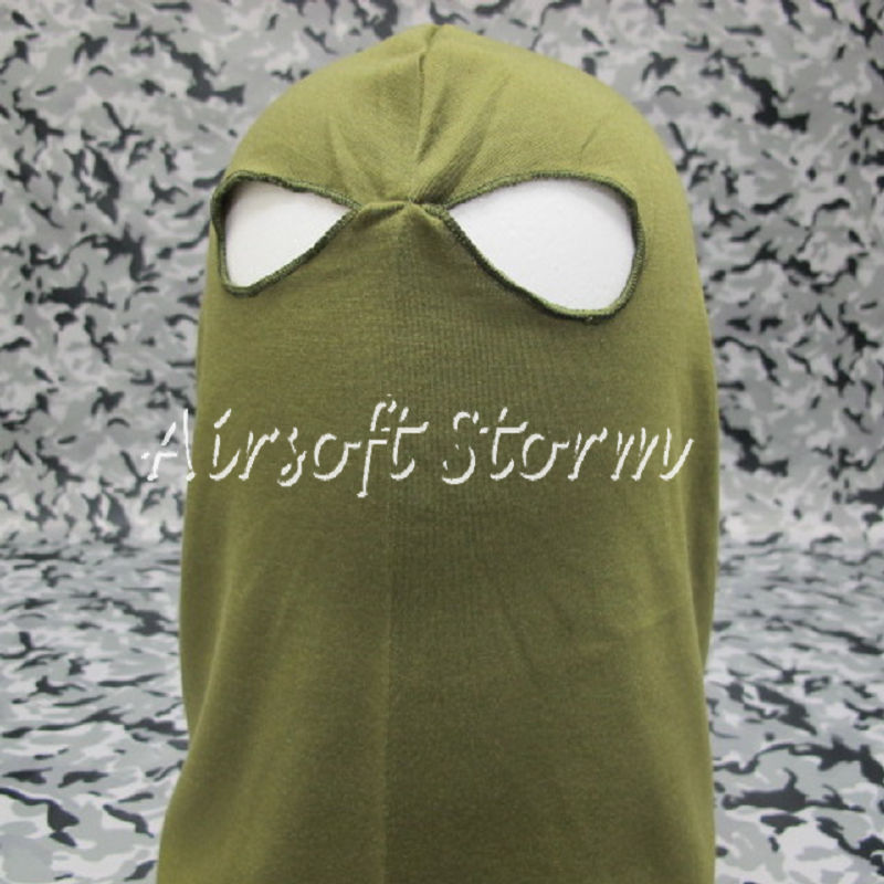 Airsoft SWAT Balaclava Hood 2 Hole Full Head Face Mask Protector Olive Drab OD