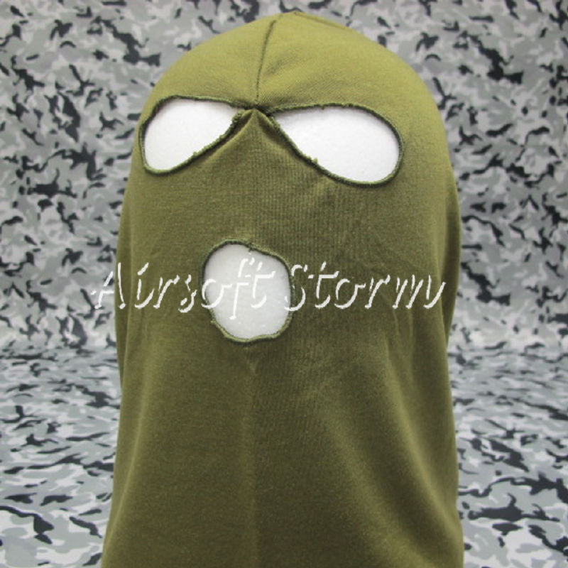 Airsoft SWAT Balaclava Hood 3 Hole Full Head Face Mask Protector Olive Drab OD