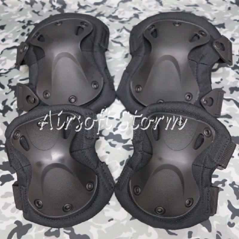 Airsoft Paintball SWAT Tactical Gear X-Cap Knee & Elbow Protective Pads Black