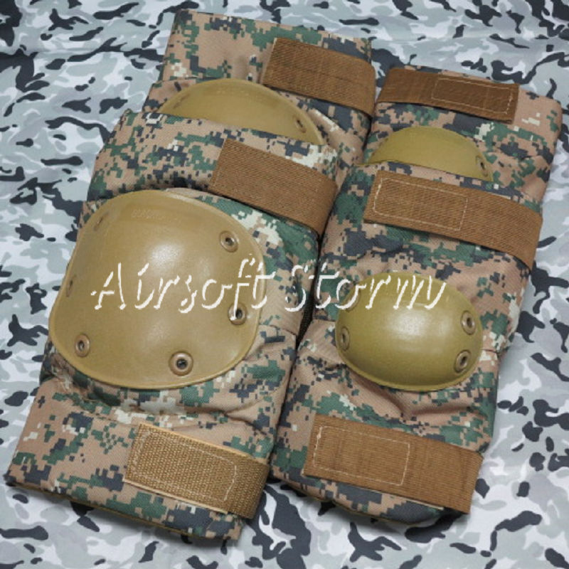 Airsoft Paintball SWAT Tactical Gear Special Force Knee & Elbow Pads Woodland Digital Camo