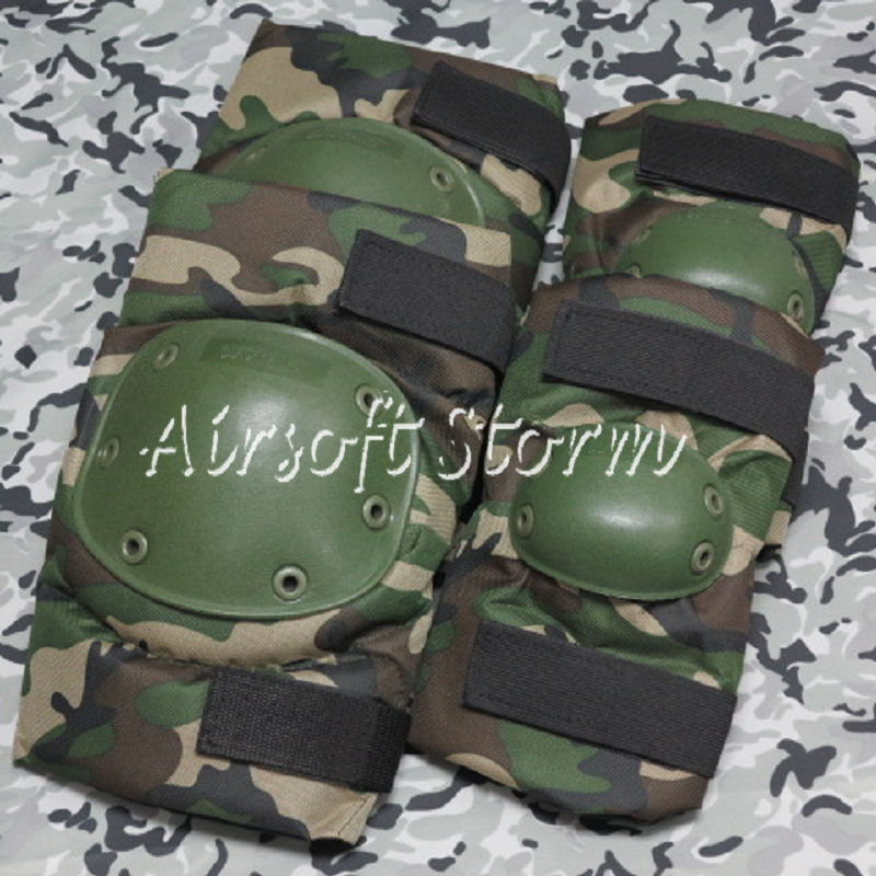Airsoft Paintball SWAT Tactical Gear Special Force Knee & Elbow Pads Woodland Camo