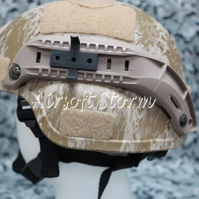 Airsoft Paintball SWAT Gear MICH TC-2000 ACH Helmet with NVG Mount & Side Rail Desert Digital Camo - Click Image to Close