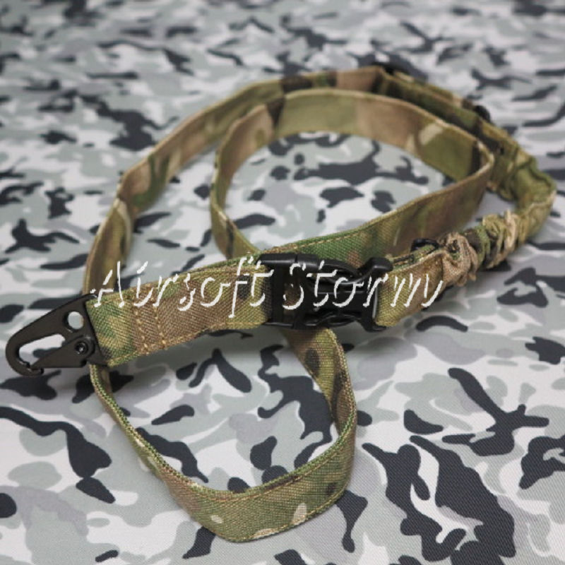 Airsoft SWAT Tactical Gear Bungee One Single Point Rifle Sling Multi Camo