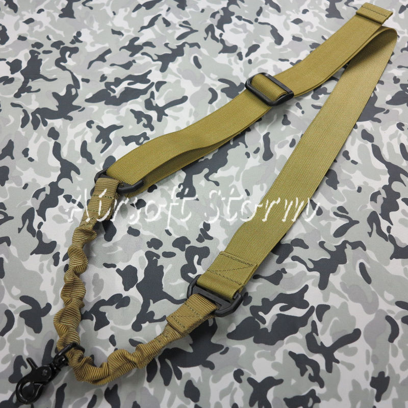 Airsoft SWAT Tactical Gear D-Boys Elastic Bungee Snap Hook CQB Rifle Sling Coyote Brown - Click Image to Close